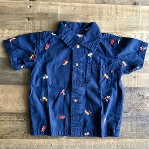 Vintage Navy Bug Embroidered Button-Up Shirt 12 m